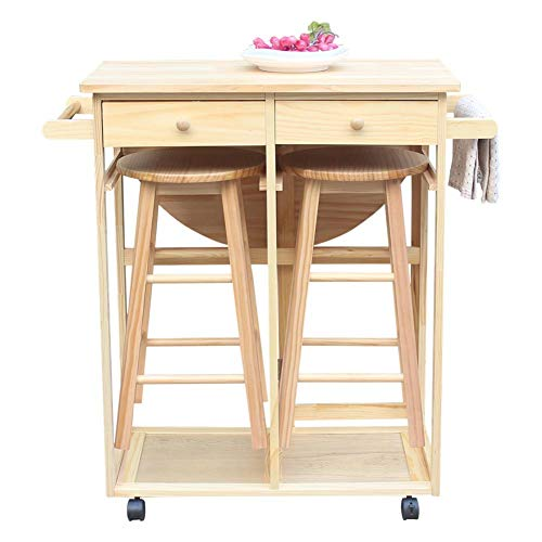 Futureshine Rolling Kitchen Trolley Cart Island Drop Table Beachwood Breakfast Bar with 2 Stools and 2 Drawers