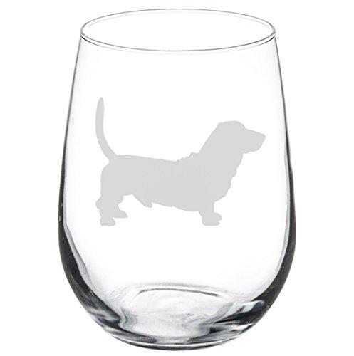 Wine Glass Goblet Basset Hound (17 oz Stemless)