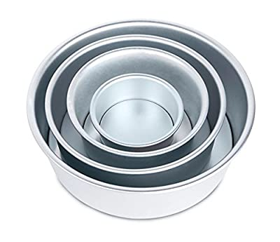 Astra Gourmet Professional Nonstick Aluminium 4-piece Round Cake Pans Removable Bottom, Silver