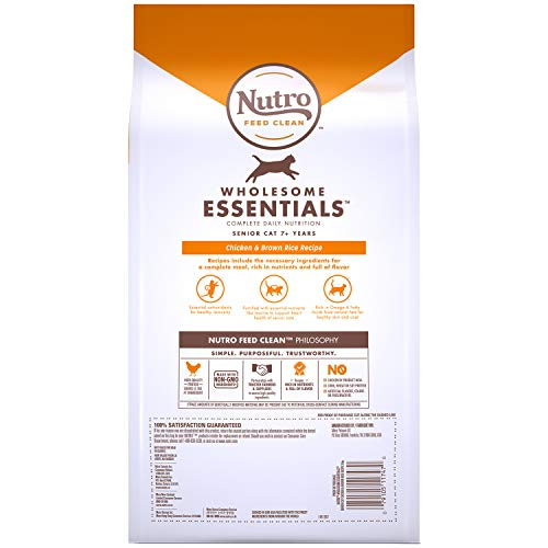 NUTRO WHOLESOME ESSENTIALS Senior Indoor Natural Dry Cat Food for Healthy Weight Farm-Raised Chicken & Brown Rice Recipe, 3 lb. Bag