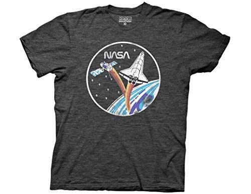 Ripple Junction NASA Adult Unisex Vintage Shuttle & Satellite Light Weight Crew T-Shirt 2XL Heather Charcoal ()