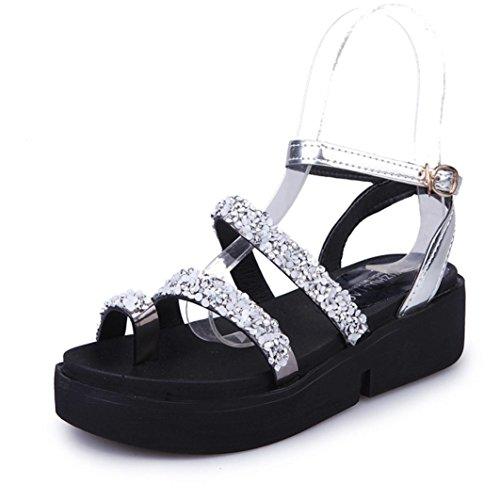 TM Gladiator Silver Sandals Rhinestone Shoes US Shoes Fashion Sandals DEESEE Women Flat Summer E6qRRw