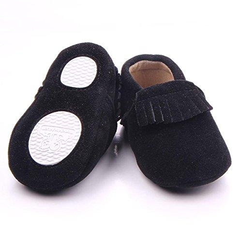 Happy Cherry Zapatos Bebés Niños Niñas Aprender a Andar de Mate PU con Borlas Suela Blanda Antideslizante Negro