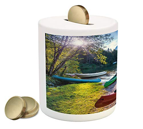 Ambesonne Landscape Piggy Bank, Bohinj Lake with Boats Canoes Triglav National Park Julian Alps Slovenia Print, Printed Ceramic Coin Bank Money Box for Cash Saving, Multicolor
