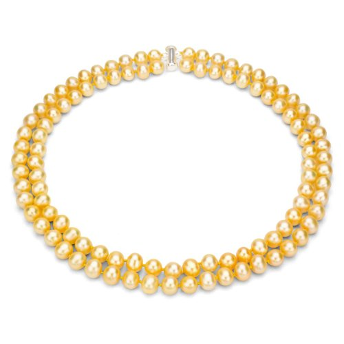 Golden Freshwater Pearl Necklace (18k Yellow Gold Plated Sterling Silver 2-rows 8-8.5mm Dyed-golden Freshwater Cultured Pearl Necklace, 17