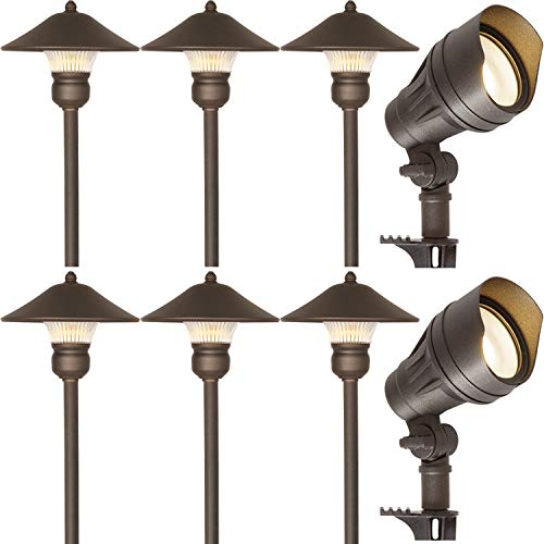 Hykolity 8 Pack Bronze Low Voltage LED Landscape Kits, 12V Pathway Flood Light Kits, 10W 390LM and 3W 150LM Wired for Outdoor Yard Lawn, Die-cast Aluminum, 50W And 30W Equivalent 15-Year Lifespan