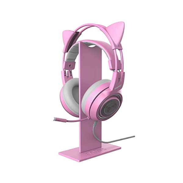 Somic Pink Headphone Stand Gaming Headset Holder With Solid Base And Flexible Earphone Hanger With Supporting For All Headphones Size