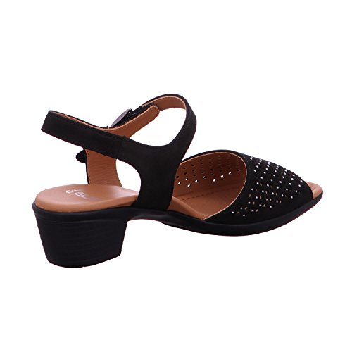 Sandalo Da Donna Ara Lugano In Pelle Nabuk Nero Nero