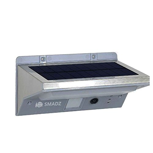 SMADZ SL73 21leds Fashion Solar Powered Garden Stainless Steel Motion Sensor Security Patio Deck Yard Garden Home Driveway Stairs Outside Wall Pathway Light (White Light)
