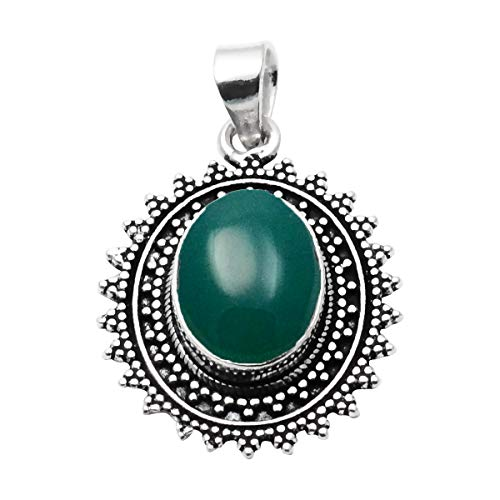SILVERART Handmade Pendant Green Onyx 925 Sterling Silver Plated Jewelry for Women and Girls
