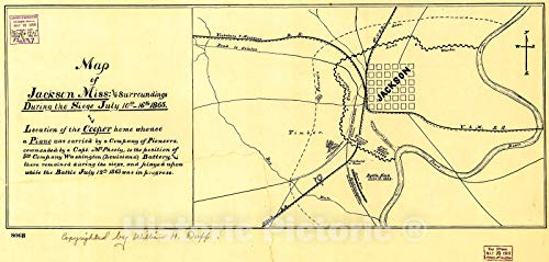 Historic 1908 Map | Map of Jackson, Miss: and surroundings During The Siege July 10th-16th, 1863, and Location of The Cooper Home whence a Piano was Carried by a Company of Pioneers, 50in x 24in