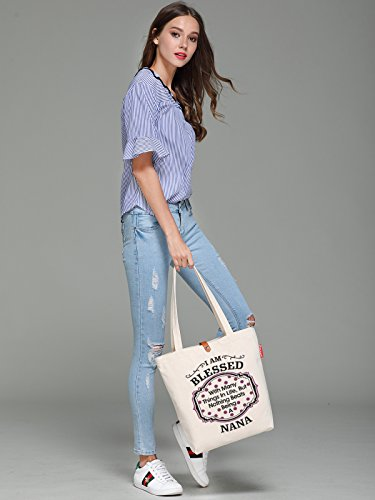 So'each Women's Blesses Nana Graphic Top Handle Canvas Tote Shoulder Bag
