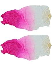 Prettyia Chinese Dance Fan Veil Hand Made Belly Dancing Silk Bamboo Long Fan Veils