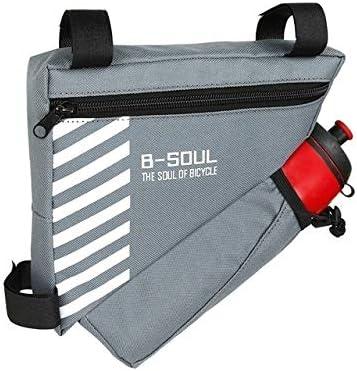 Lxkko 水ボトル三角形バッグ固体自転車フロントチューブフレームバッグポケット付き自転車袋、サイズ:20.5 * 18 * 5センチメートル、青色 (色 : Grey)