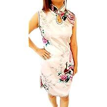 Women's Asia Chinese Miss Mini Satin Dress Geisha Qipao With Phoenix