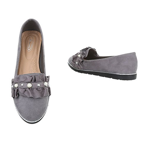 Grey 127 Ital Design Women's 7 Loafer Flats Flat Slippers 00URqSwP