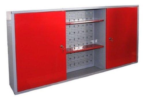 Werkstattschrank aus Metall mit verschließbaren Türen, zwei höhenverstellbaren Einlegeböden, einer Lochwand sowie kratzfester Oberfläche, Maße B 120 x H 60 x T 19 cm