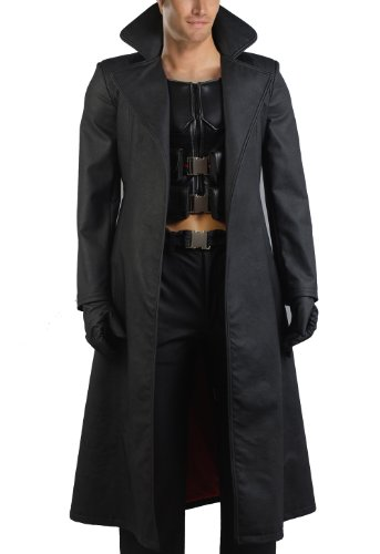 CosDaddy Cosplay Costume Black Trech Coat Full Blade Costume,Men-Large