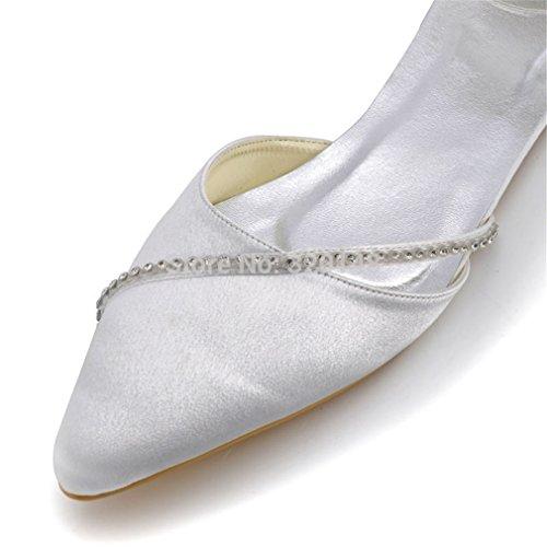 ... Femmes Chaussures Blanches Bout Pointu Strass Cheville Sangle  Confortable Ballerines Satin Mariage Appartements De Mariée Femme a23784e04ef4