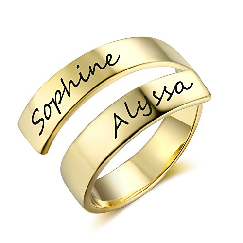 Love Jewelry Personalized Spiral Twist Ring Engraved Names BFF Personalized Gift Mother-Daughter Promise Ring Her (Gold) by Love Jewelry