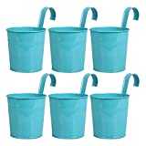 Hanging Flower Pot, Peleustech 6PCS Metal Art Bucket Planters Flower Holders for Garden Railings, Patio Fence, Balcony - Blue