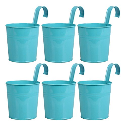 Hanging Flower Pot, Peleustech 6PCS Metal Art Bucket Planters Flower Holders for Garden Railings, Patio Fence, Balcony - Blue