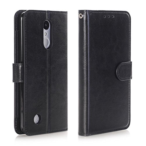 For LG Fortune/Phoenix 3/Rebel 2/K4 2017, Mchoice Wallet Flip Case Cover With Card Slots And Stand (Black) ()