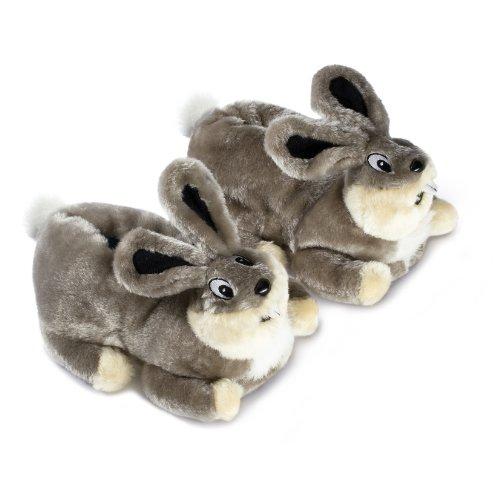 funslippers®, lustige Hausschuhe Tiere Tierhausschuhe Schadstoffgeprüft** Erwachsene und Kinder Hasen Plüsch Bunny Kaninchen grau mit Gummisohle