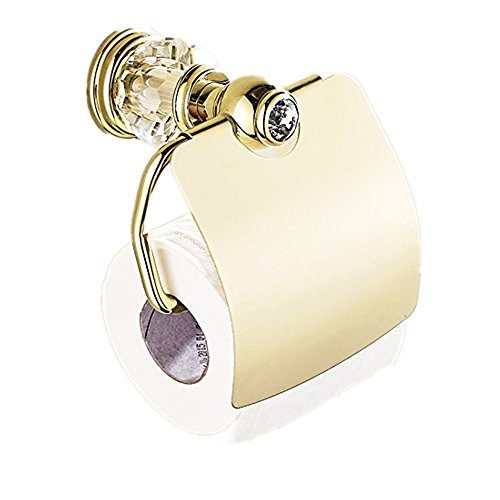 AUSWIND Antique Gold Toilet Paper Holder Polish Crystal & Brass Toilet Paper Holder Wall Mounted Bathroom Accessories