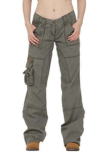 Lightweight Wide Leg Cargo Trousers - Green (US4 / UK6) (Womens Low Rise Cropped Pant)