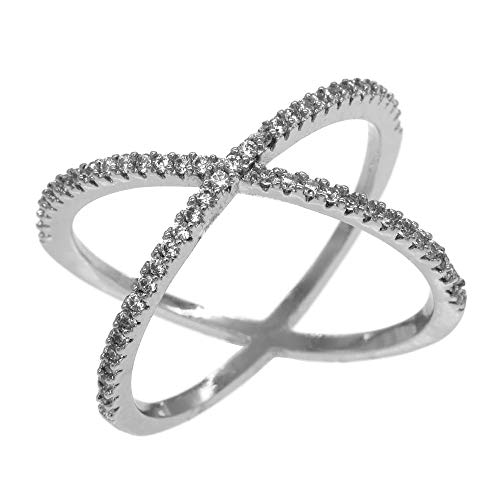 Lavencious Single X Cross Rings Criss Trendy Fashion Statement Clear CZ Cocktails Jewelry Size 5-10 for Women (Silver, 8) (Criss Cross Rhinestone)
