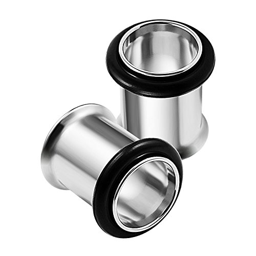 - 2PCS Stainless Steel 0g 8mm Single Flared Earring Stretcher Ear Tunnel Gauges Lobe Piercing Jewelry 1784