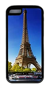 Hot iPhone 5C Case - Paris Eiffel Tower Lovely Milk Bottles Funny Lovely Best Cool Customize iPhone 5C Cover TPU Black