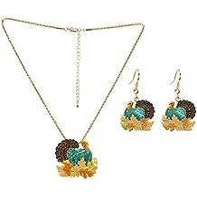 Lova Jewelry Retro Turkey Foliage Thanksgiving Fall Enameled Dangle Earrings and Necklace