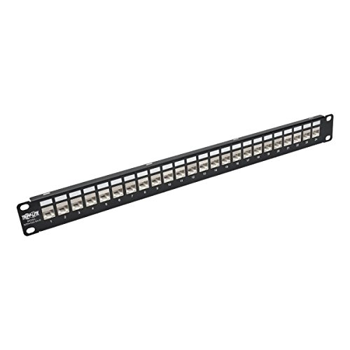 Tripp Lite 24-Port Cat6 / Cat5 Patch Panel STP Shielded Down-Angled Ports RJ45 Ethernet 1U Rackmount TAA (N254-024-SH-D)
