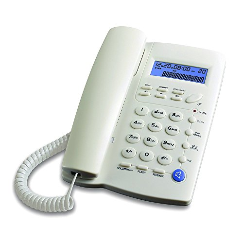- Ornin Y043 Corded Telephone with Speaker, Display, Basic Calculater and Caller ID (White)
