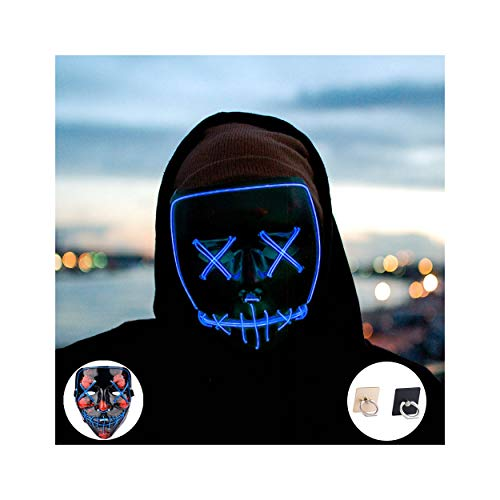 Light up Mask Led Mask Halloween Mask Led Mask Light up Mask Scary Mask for Festival Cosplay Halloween Costume Party (Blue) -
