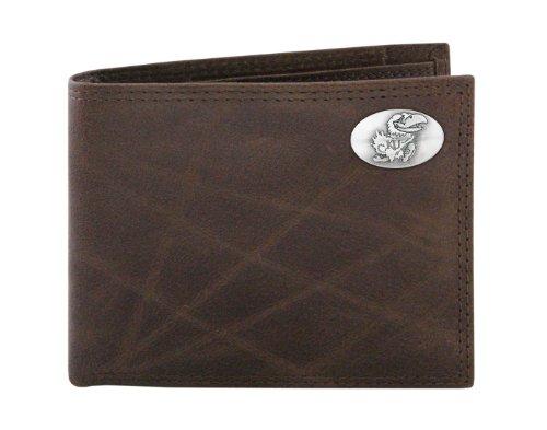 NCAA Kansas Jayhawks Zep-Pro  Wrinkle Leather Bifold Concho Wallet, Brown
