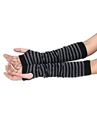 Kingfansion Women Men Striped Winter Wrist Arm Hand Warmer Knitted Long Fingerless Gloves Mitten (Black)