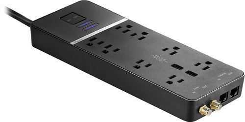 - Rocketfish - 8-Outlet Surge Protector - Black
