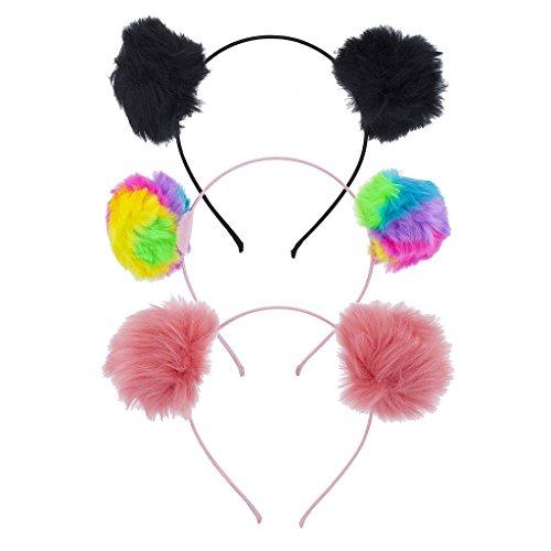 - Lux Accessories Multicolor Tie Dye Fuzzy Pom Pom Ball Cat Ear Headband Set 3 PC