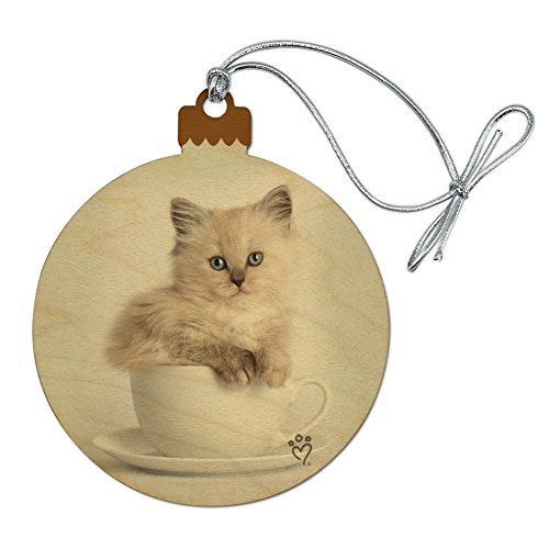 GRAPHICS & MORE Ragdoll Tiffany Cat Kitten Tea Cup Ride Wood Christmas Tree Holiday Ornament ()