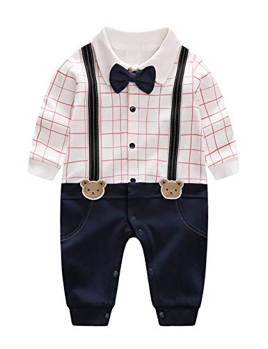 D.B.PRINCE Infant Newborn Baby Boy Long Sleeves Gentleman Romper Suits Dress Clothes Outfits with Bow Tie (Bear, 0-3 Months) -
