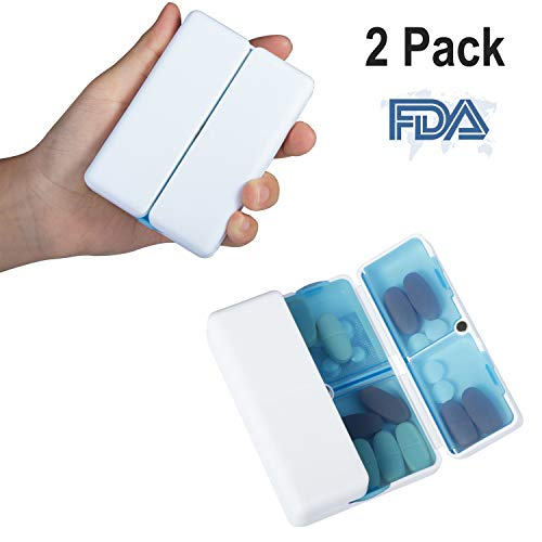 Magnetic Foldable Pill Box Case (2 Pack), Opret 7 Compartments Portable Pill Organizer for Travel 7 Day for Dose Pills & Vitamins Dustproof Damp Proof, FDA Certified BPA Free(Blue)