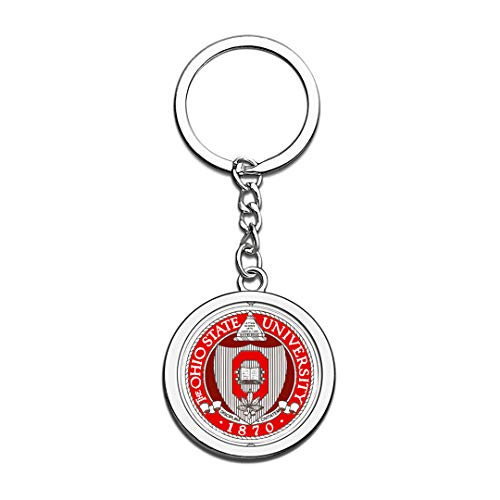 Ohio State University OSU Badge Keychain 3D Crystal Creative Spinning Round Stainless Steel Keychain Travel City Souvenir Collection Key Chain -