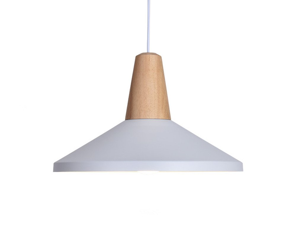 BOKT 60W Edison Lights Modern Industrial Pendant Lamp Colorful Hanging Chandelier Shade Light E26/E27 Base Painted Finish Solid Wood Series Single Head (B-White)