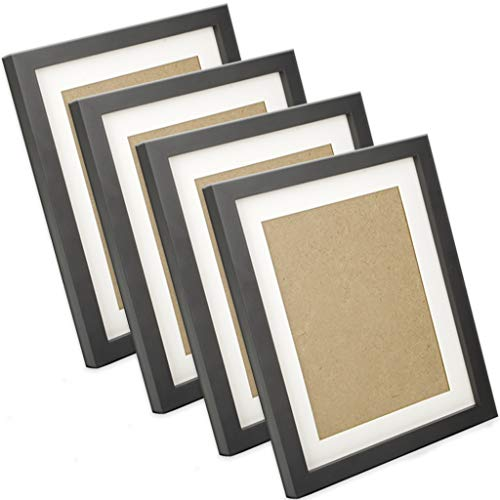 4 Pack Nature Wood 8x10 Black Picture Frames, Display Photoe