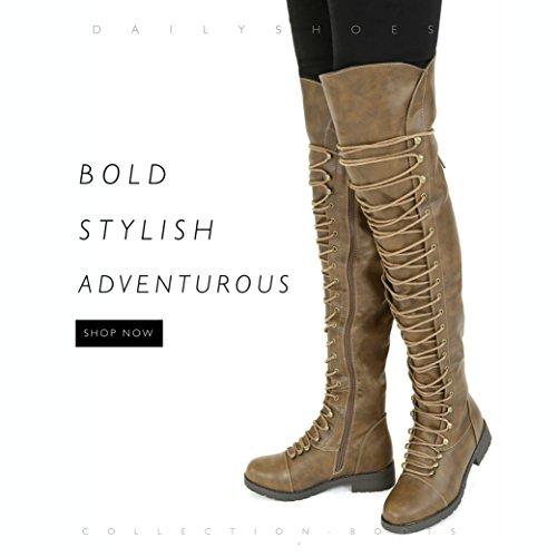 DailyShoes Damen Lace Up Oberschenkel Hohe Stiefel - Vegan Einfach Lace Up Design Mit Reißverschluss Trendy MILITY Style Boot Brauner Pu