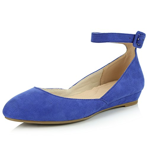 DailyShoes Women's Fashion Adjustable Ankle Strap Buckle Pointed Toe Low Wedge Flat Shoes, Blue Suede, 7 B(M) ()