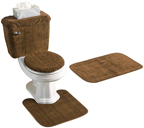 Madison Industries Chocolate Brown 5 Piece Bath Rug and Tank Set - Tank Cover Set
